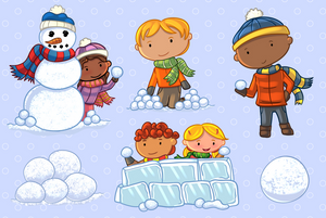 Snow Ball Fight Clip Art Collection