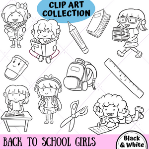 Back To School Girls Digital Stamps