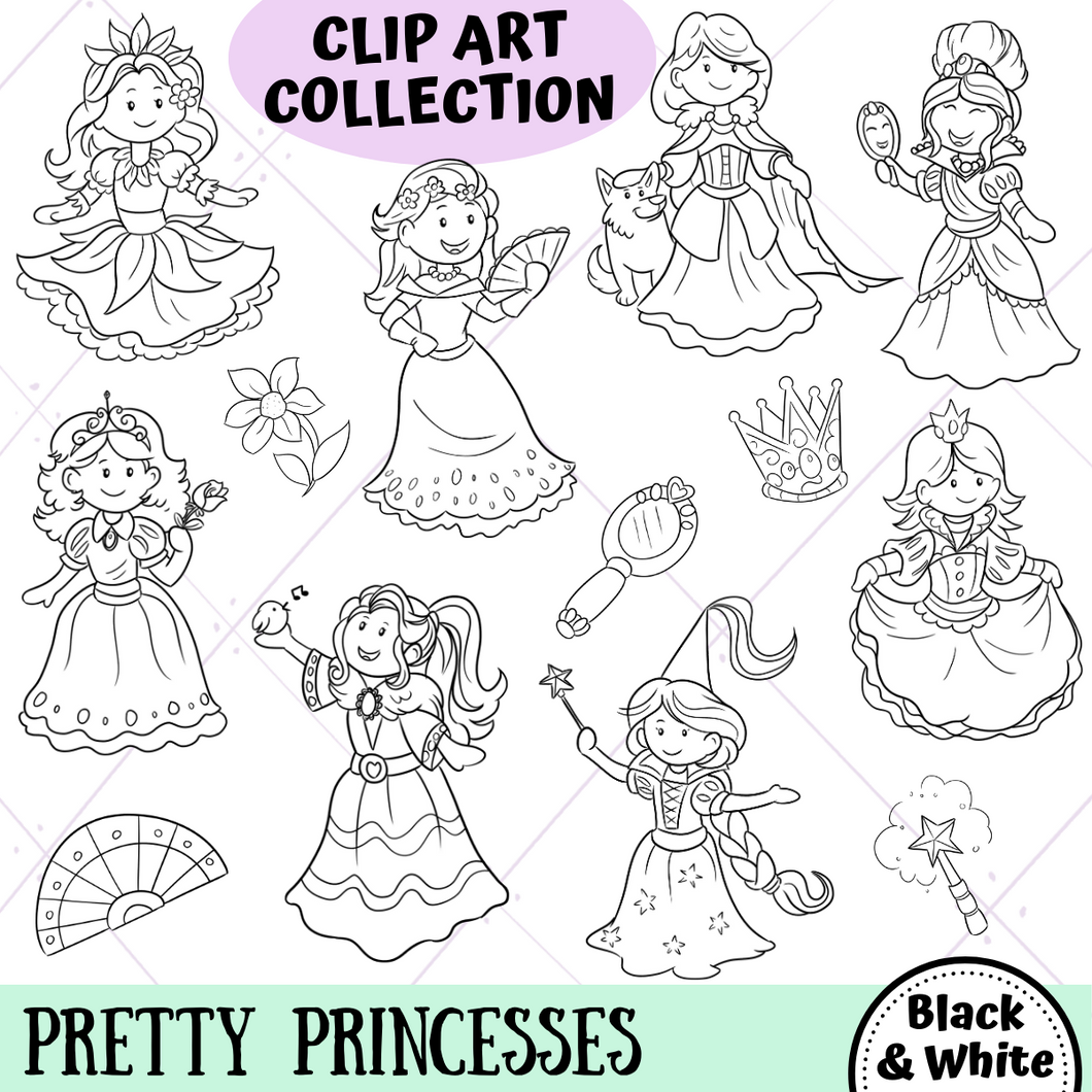 Pretty Princesses Digital Stamps