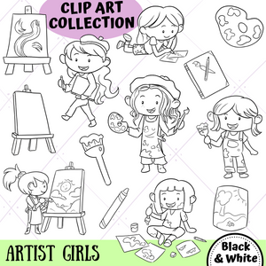 Artist Girls Digital Stamps
