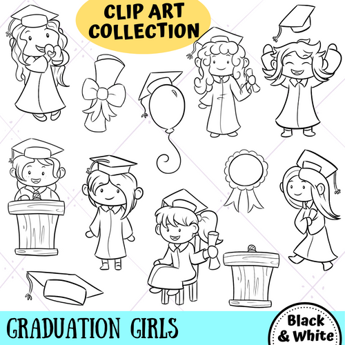 Graduation Girls Digital Stamps