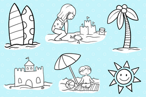 Beach Trip Digital Stamps