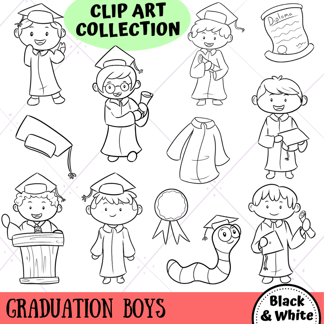 Graduation Boys Digital Stamps