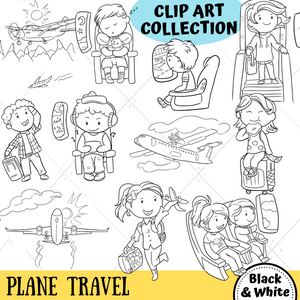 Airplane Travel Digital Stamps