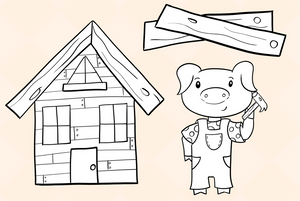 Three Little Pigs Digital Stamps