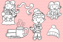Load image into Gallery viewer, Winter Hot Cocoa Digital Stamps