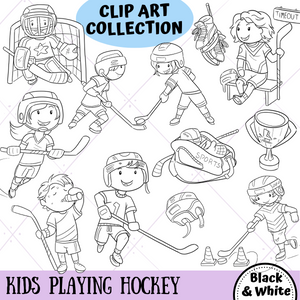 Playing Hockey Digital Stamps