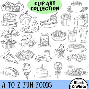 A to Z Fun Food Digital Stamps