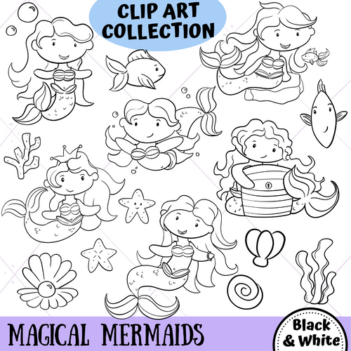 Mermaid Digital Stamps