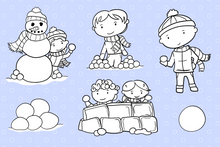 Load image into Gallery viewer, Snow Ball Fight Digital Stamps