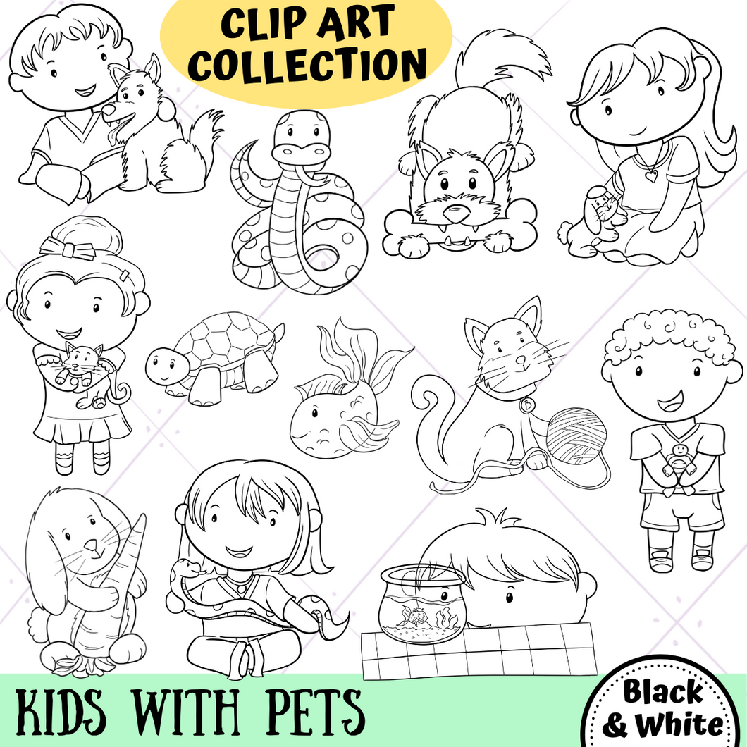 Kids With Pets Digital Stamps