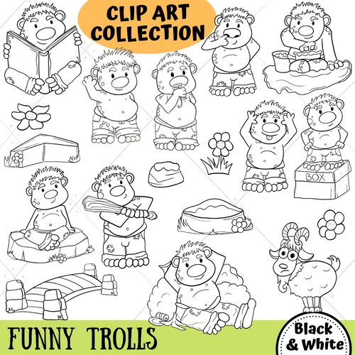 Funny Trolls Digital Stamps