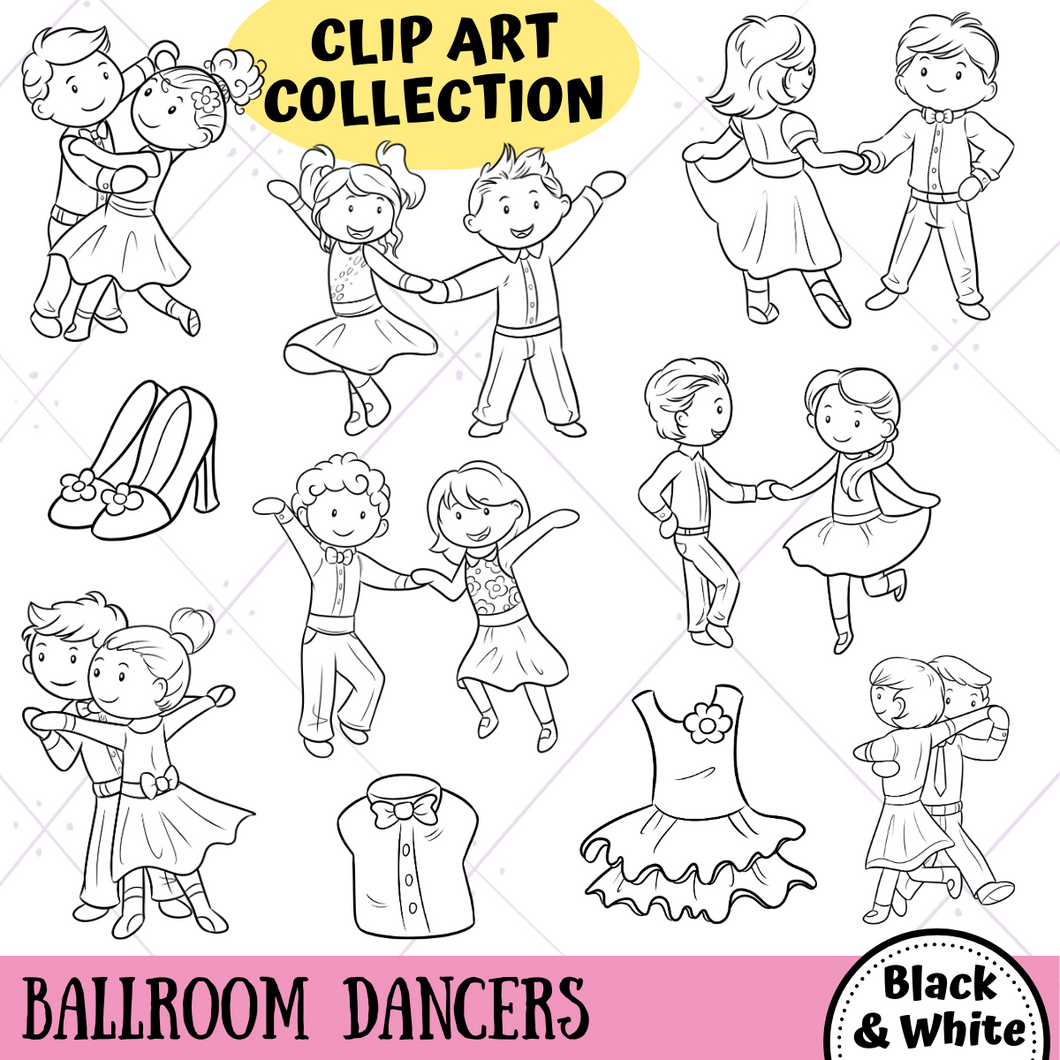 Ballroom Dancers Digital Stamps