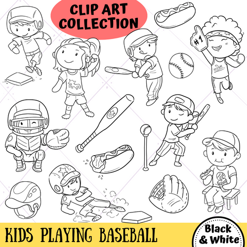 Playing Baseball Digital Stamps