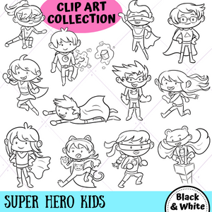 Super Hero Kids Digital Stamps