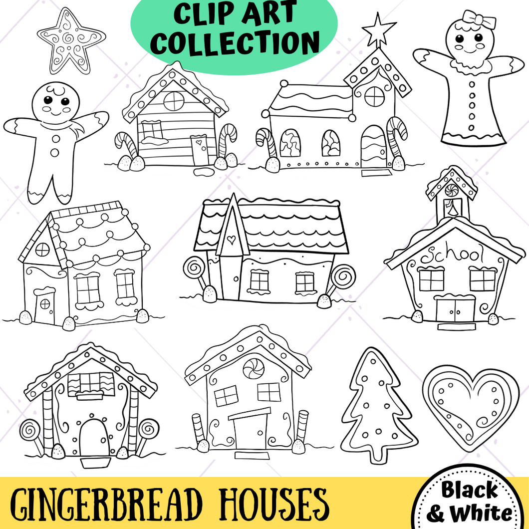 Gingerbread Houses Digital Stamps