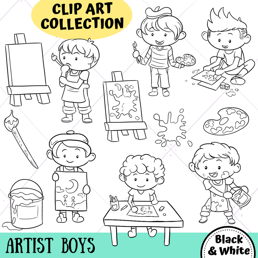 Artist Boys Digital Stamps