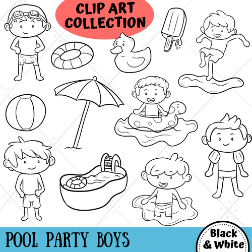 Pool Party Boys Digital Stamps