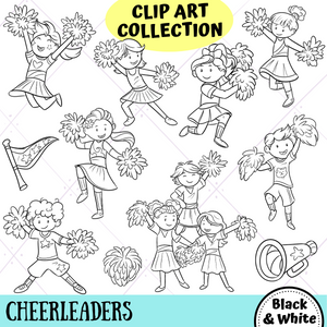 Cheerleader Kids Digital Stamps