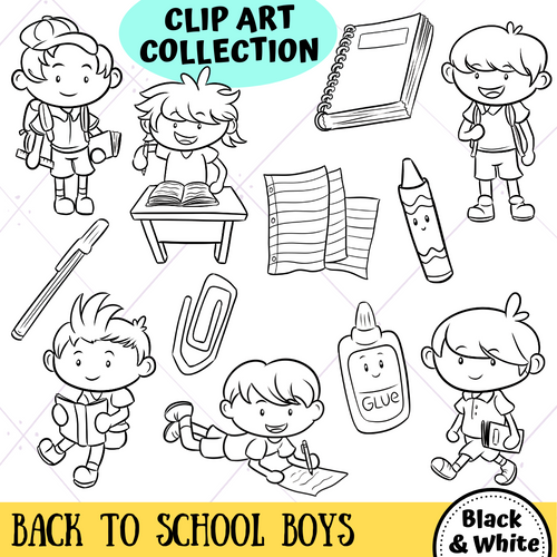 Back To School Boys Digital Stamps