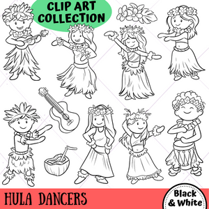 Hula Dancers Digital Stamps
