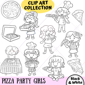 Pizza Party Girls Digital Stamps