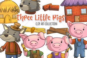 Three Little Pigs Clip Art Collection