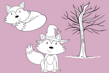 Load image into Gallery viewer, Fall Foxes Digital Stamps