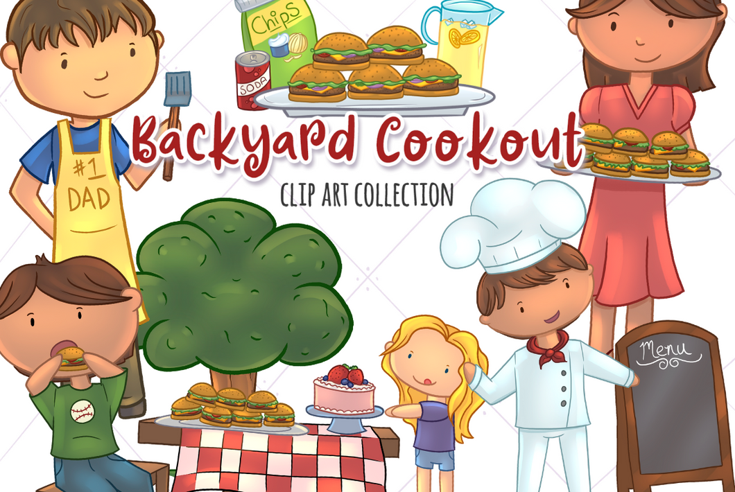Backyard Cookout Clip Art Collection