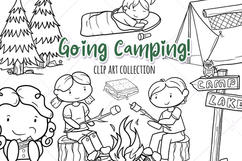 Camping Digital Stamps