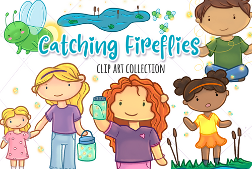 Catching Fireflies Clip Art Collection