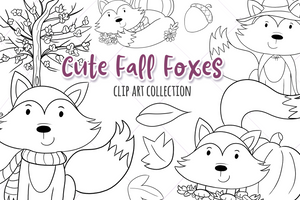 Fall Foxes Digital Stamps