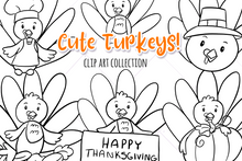Load image into Gallery viewer, Cute Turkeys Digital Stamps