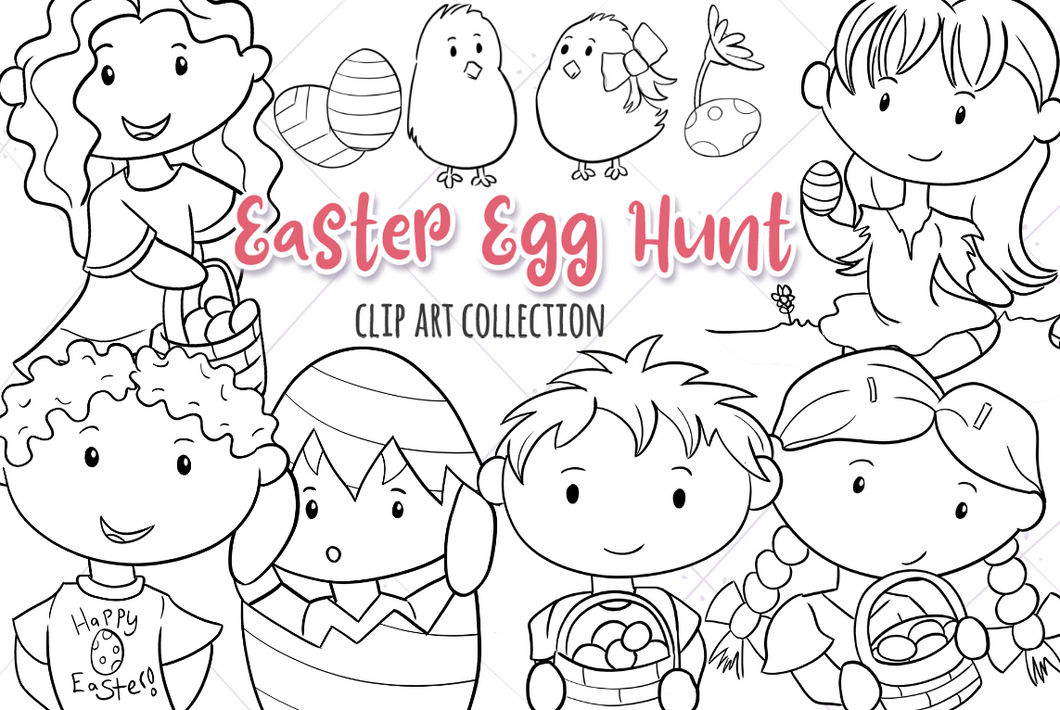 Easter Egg Hunt Digital Stamps