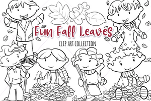 Fall Leaves Digital Stamps