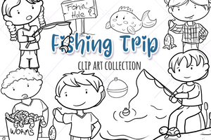 Fishing Digital Stamps