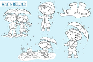 Spring Showers Digital Stamps