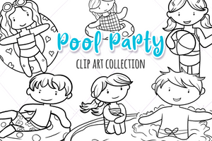 Pool Party Digital Stamps