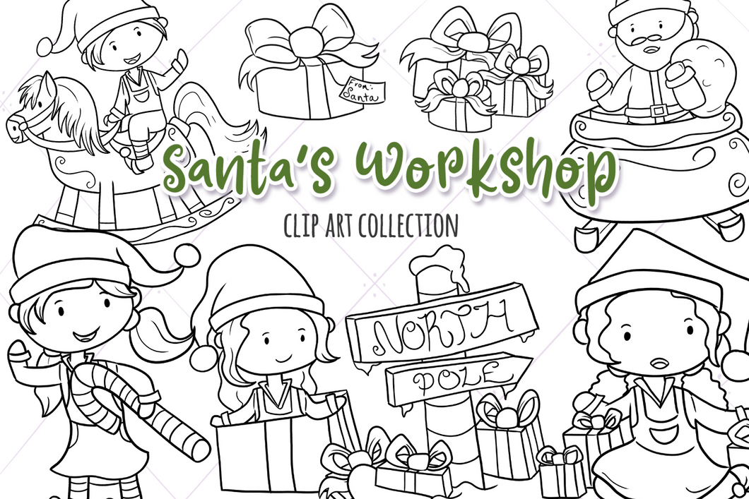 Santa's Workshop Digital Stamps