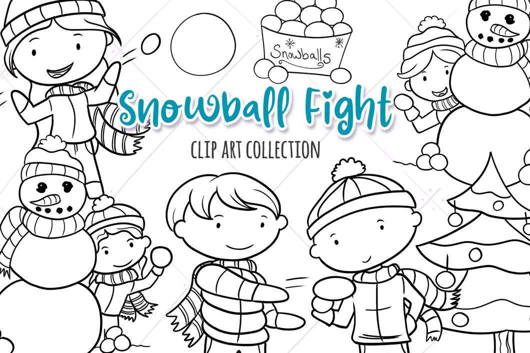 Snow Ball Fight Digital Stamps
