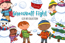 Load image into Gallery viewer, Snow Ball Fight Clip Art Collection