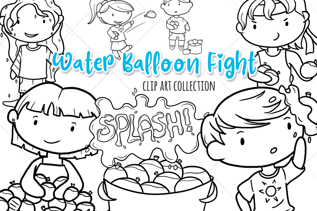 Water Balloon Fight Digital Stamps