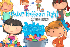 Water Balloon Fight Clip Art Collection