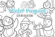 Load image into Gallery viewer, Winter Penguins Digital Stamps