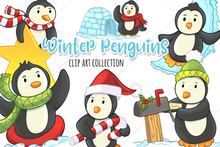 Load image into Gallery viewer, Winter Penguins Clip Art Collection