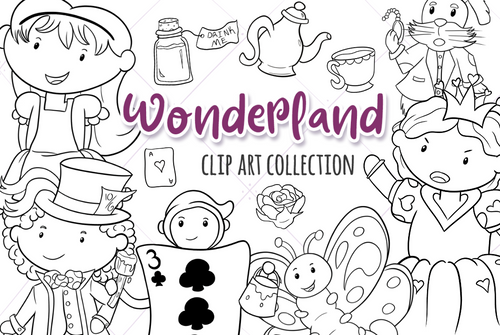 Alice In Wonderland Digital Stamps