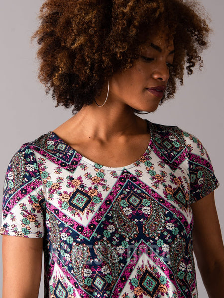 Agnes & Dora™ Everyday Tee Scoop Neck Navy/Fuchsia Boho