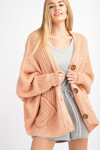 V SHAPE BACK NECK POINT CHUNKY KNIT CARDIGAN