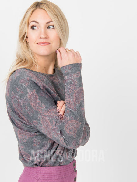 Agnes & Dora™ Urban Pullover Charcoal Paisley