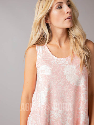 Essential Tank - Scoop Neck Coral/Pink/Ivory Floral
